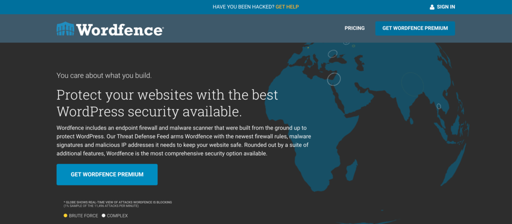 Wordfence security WordPress plugin.