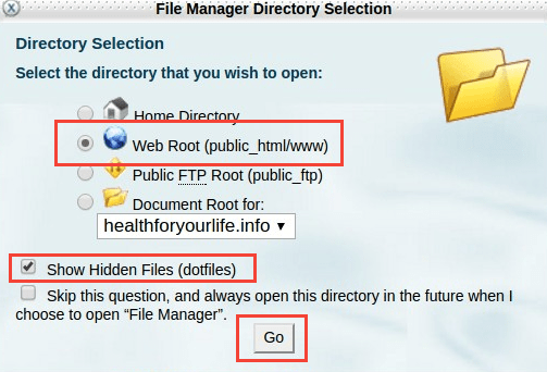 File Manager options