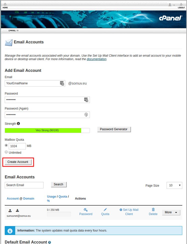 Creating email account