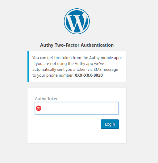 Two-Factor Authentication WordPress screen
