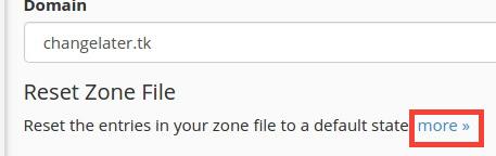reset DNS zone