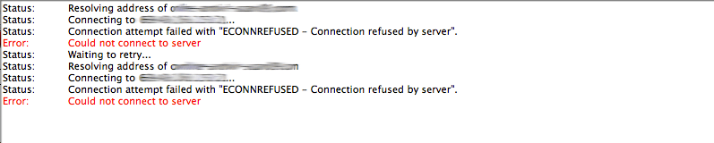 ECONNREFUSED Connection refused by server error FileZilla Log