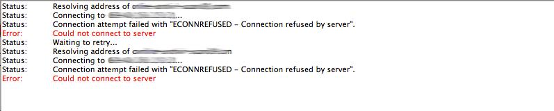 ECONNREFUSED Connection refused by server error FileZilla Log
