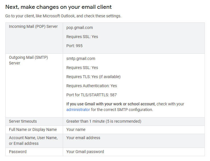 Configuration instructions for using an email client in Gmail