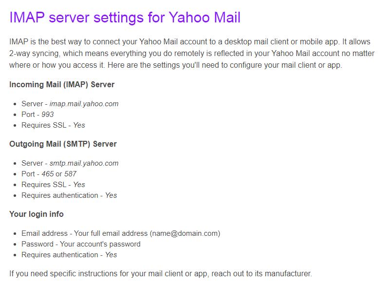IMAP server settings for Yahoo Mail