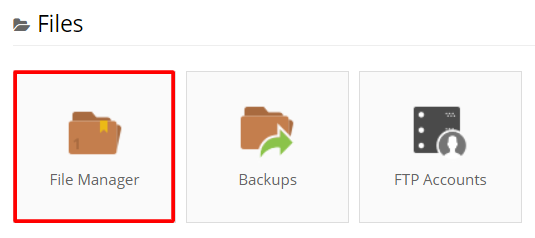 The file manager menu on hPanel.