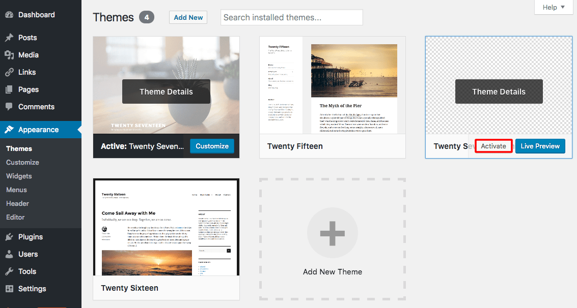 Activating WordPress Child Theme