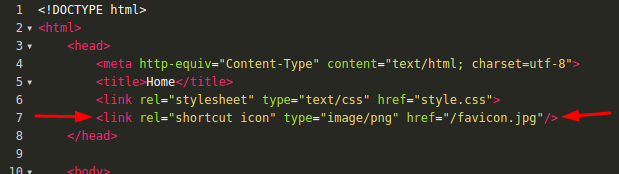 Chèn mã HTML để tạo Favicon