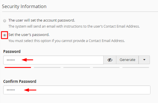 specifying new user password