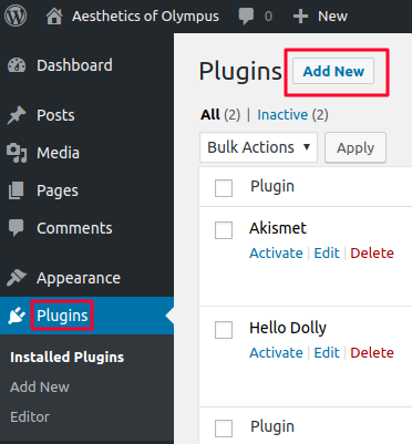 adding new wordpress plugin