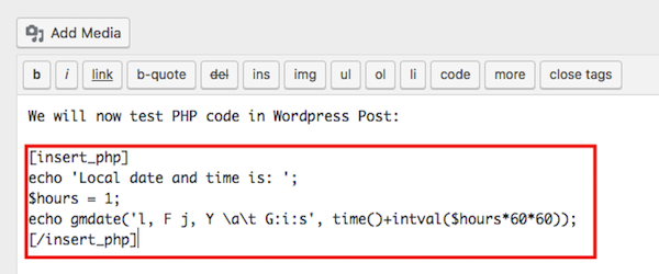 Adding PHP ode to WordPress Post