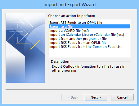Exporting emails to a file in Microsoft Outlook