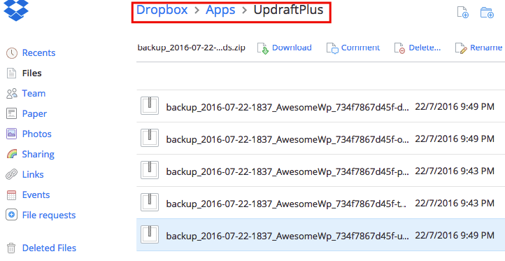 Backups appear in Dropbox under Apps folder