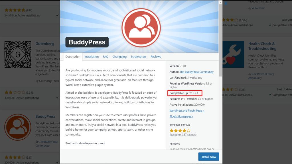 Screenshot of the BudyPress plugin's version compatibility