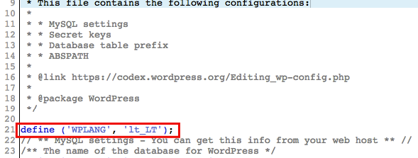 Editing wp-config.php file