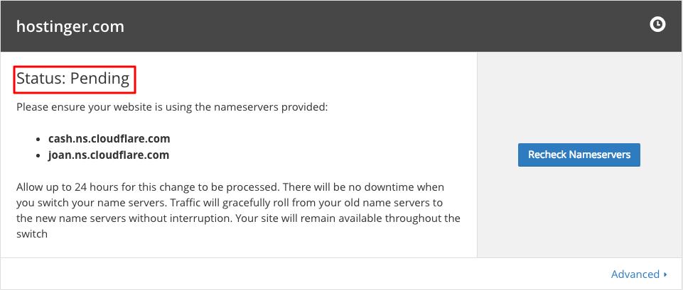 CloudFlare Pending Status