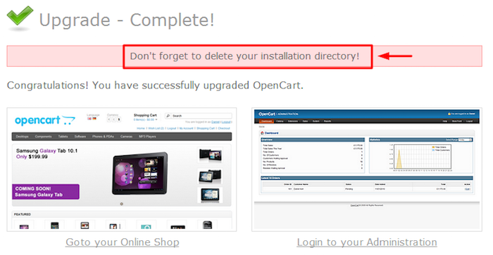 Update Completed OpenCart
