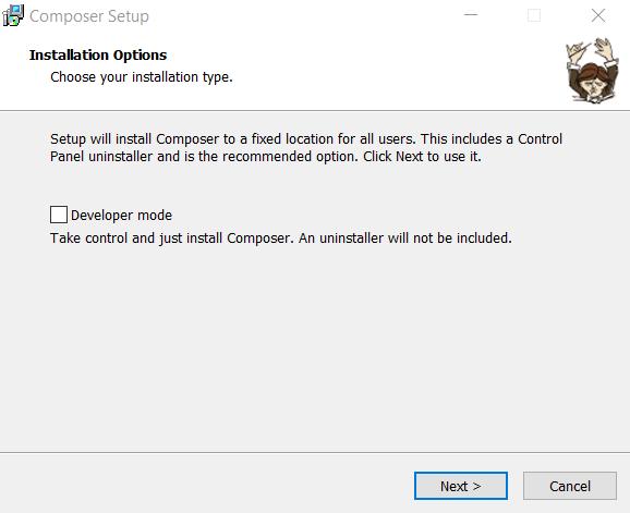 Composer installation wizard on Windows