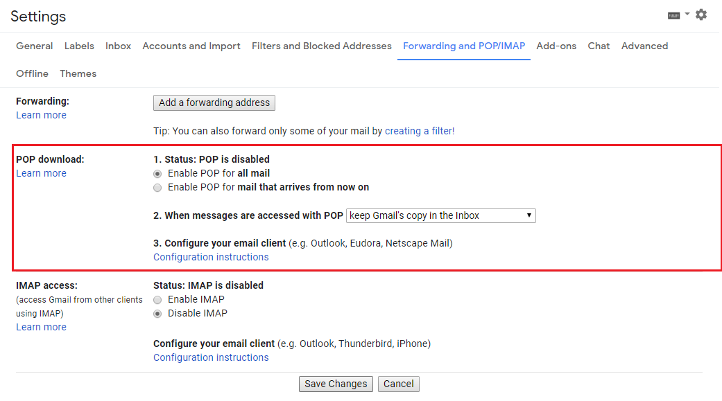 Tweaking POP download settings in Gmail