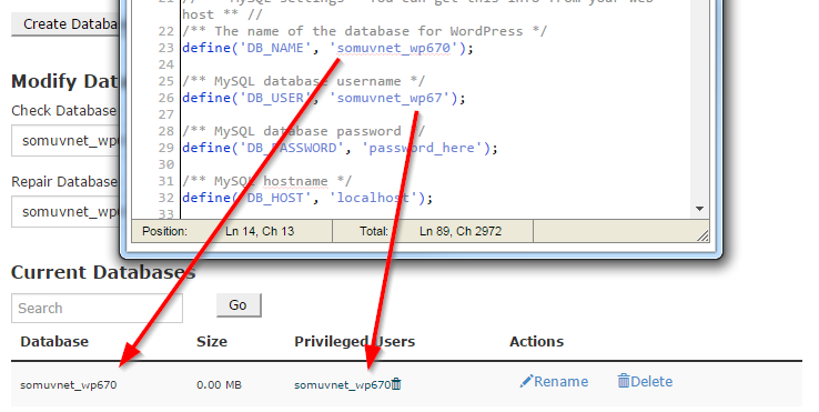 Match the wp-config.php values to the actual information in Current Databases screen.