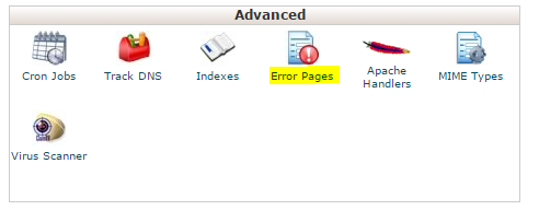 Click the Error Pages icon in Advanced section.
