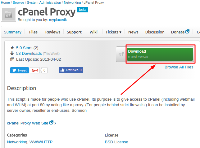 Download cPanel proxy