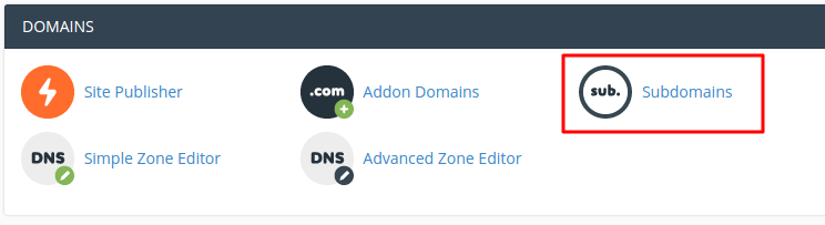 Subdomains tool location