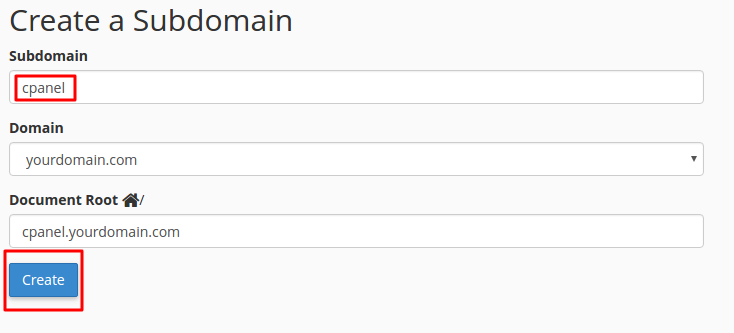 Creating subdomain