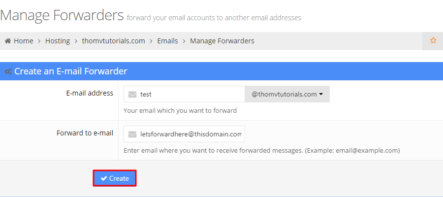 Setting up an e-mail forwarder