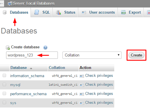 creating database in phpmyadmin