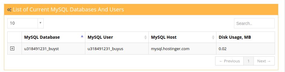 Hostinger MySQL Database Details
