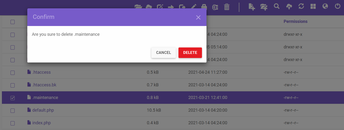 Screenshot showcasing the Delete functionality in File Manager