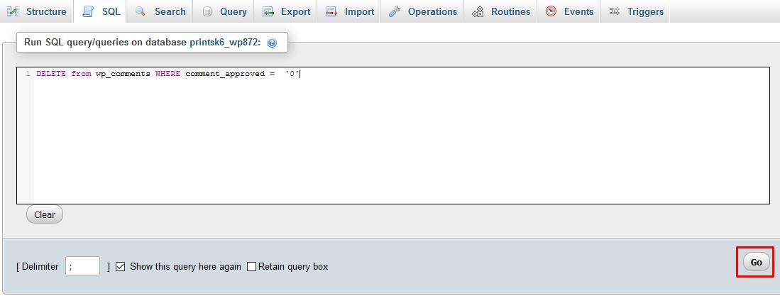 WordPress Delete Pending Commends using phpMyAdmin