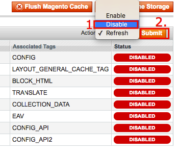 Disabling Magento caching