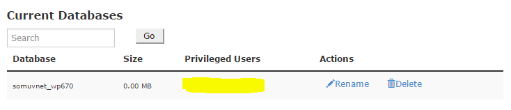 This database has no user added.