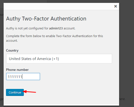 Enable/Disable Authy Phone verification