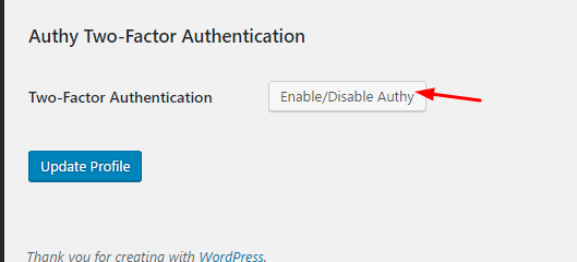 Enable/Disable Authy