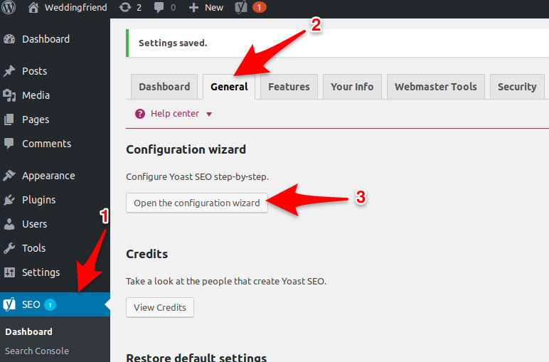Entering Yoast plugin configuration