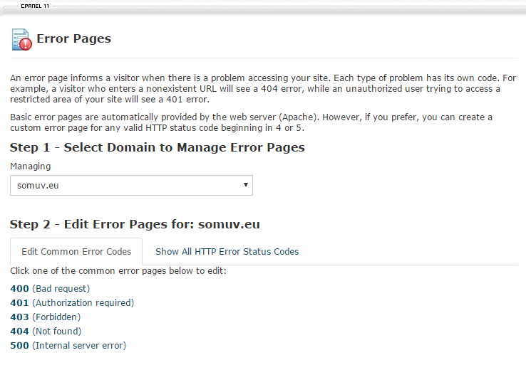 Select the domain name and the error page that you want to edit.