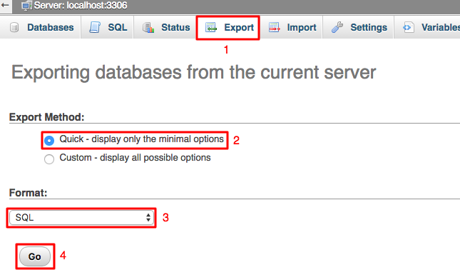 Exporting MySQL Database