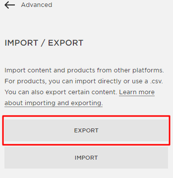 Squarespace website export