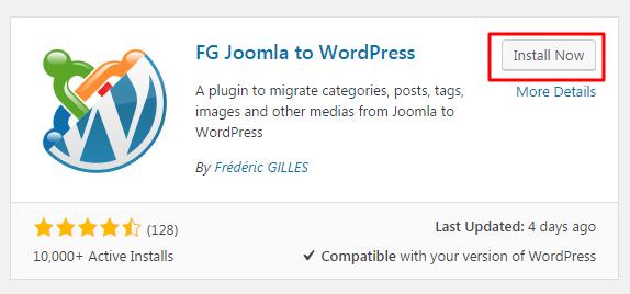 FG Joomla to WordPress plugin installation