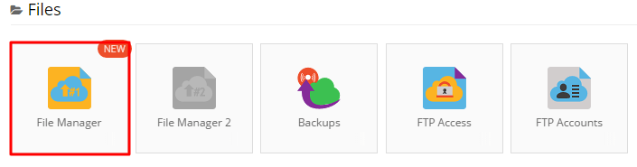 file manager location in control panel