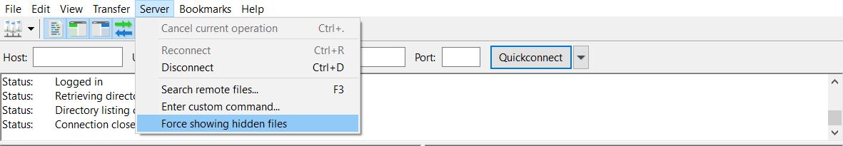 Screenshot showcasing FileZilla's force showing hidden files option