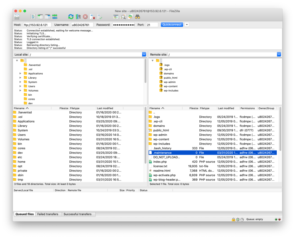 Deleting the .maintenance file in FileZilla