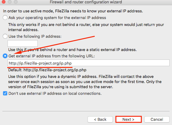 filezilla how to connect to a local server