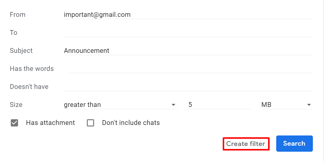 Screenshot of where to find the create a filter button in Gmail