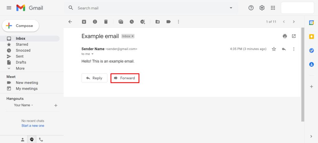 Screenshot of Gmail's forward button