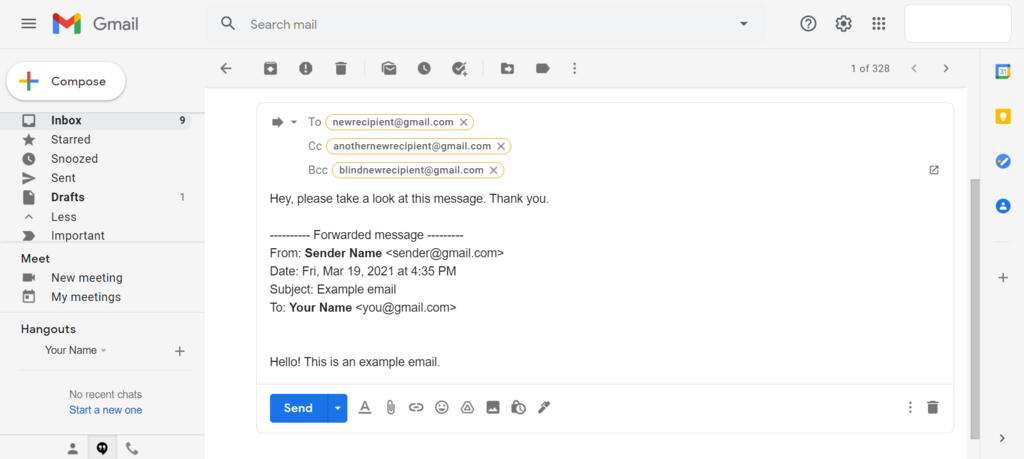 Screenshot of Gmail's forwarded message text