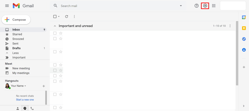 Screenshot of Gmail's settings icon